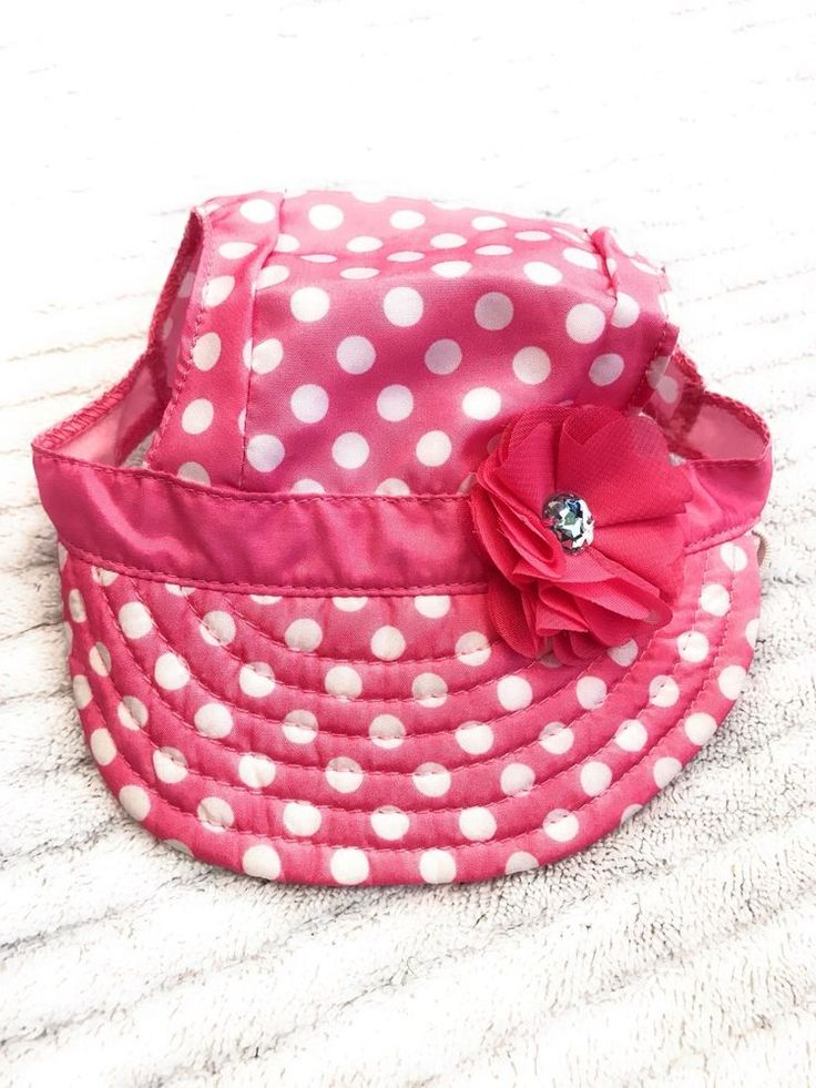 Dog Hat Size M/L Pet Puppy Clothing Apparel Pink Beach Style White Dots Flower  | eBay