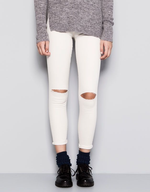 :HIGH WAIST RIPPED SKINNY JEANS