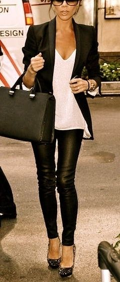 Victoria Beckham leather leggings matched with a black blazer. We love! | See more about black leather leggings, black leather pants and leather leggings.