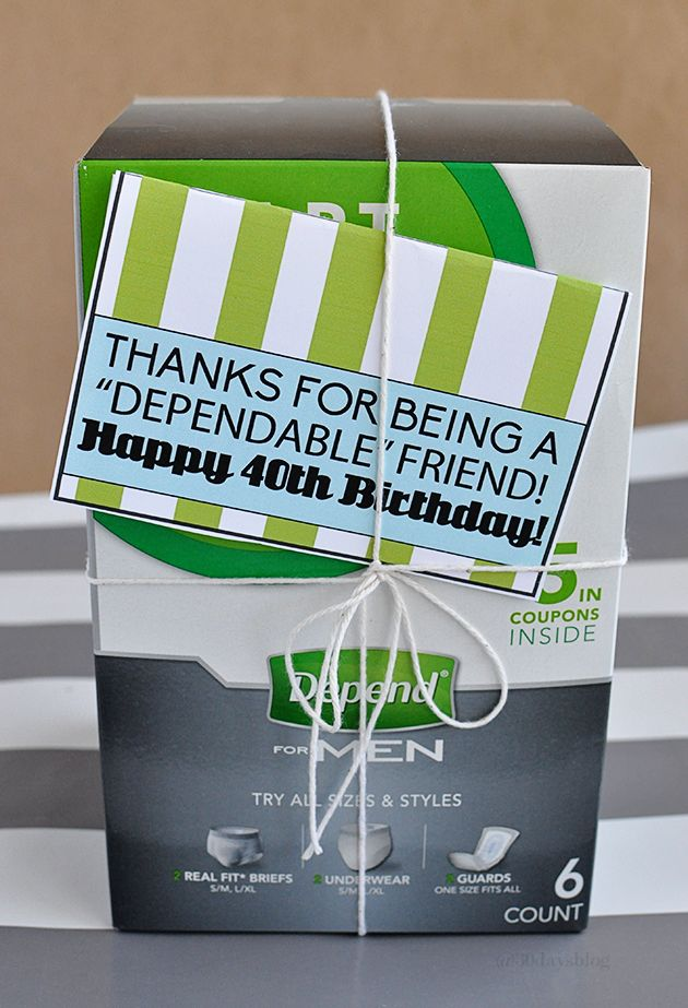 """Birthday Gifts for Him: fun 40th gag gift, """"Depends"""" with a printable gift card template www.thirtyhandmadedays.com"""