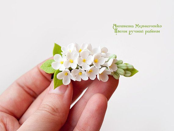 Hairclip White Lilac Polymer Clay Flowers por SaisonRomantique