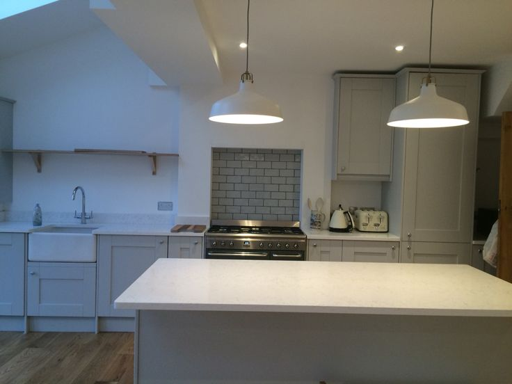 Dove Grey Kitchen With White Worktop