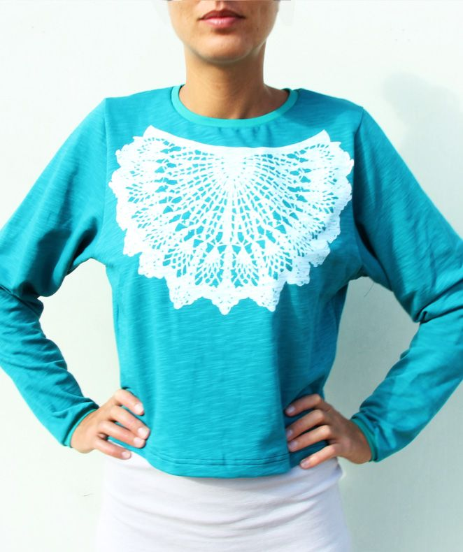Doily Sweater Blue Size: S @ AIROSA*design