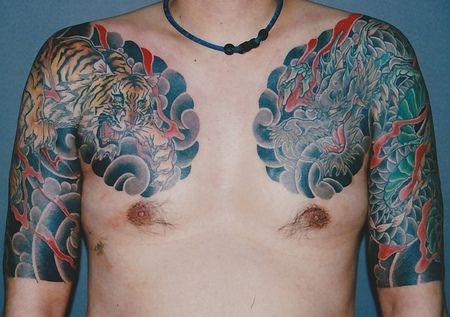 龍五分袖虎太鼓タトゥー/刺青デザイン画像  Japanese Traditional Tattoo