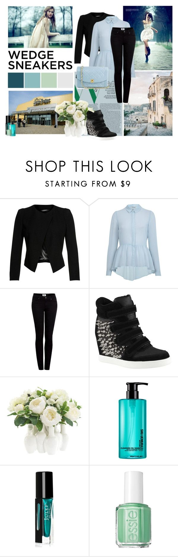 """What Do You Wear With Wedge Sneakers?"" by harry-potter-girl ❤ liked on Polyvore featuring Plein Sud, Miss Selfridge, Paige Denim, ALDO, Chanel, NDI, shu uemura and Essie"