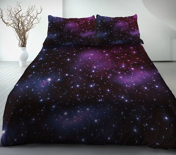 Purple galaxy bedding set purple galaxy duvet cover galaxy bed sheet and two matching pillowcases