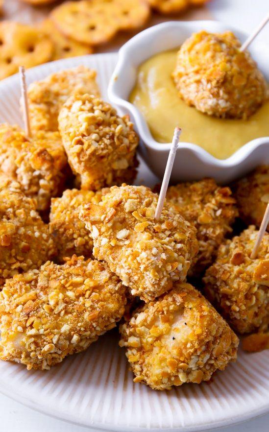 Pretzel Crusted Chicken Bites