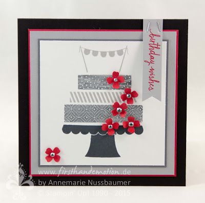handmade card from First Hand Emotion ... shades of gray with pops of red ... laed birthday cake with stamped washi tape design strips ... Stampin' Up!