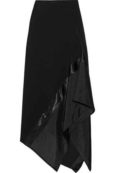 Donna Karan New York | Asymmetric satin and organza-paneled wool-blend skirt | NET-A-PORTER.COM