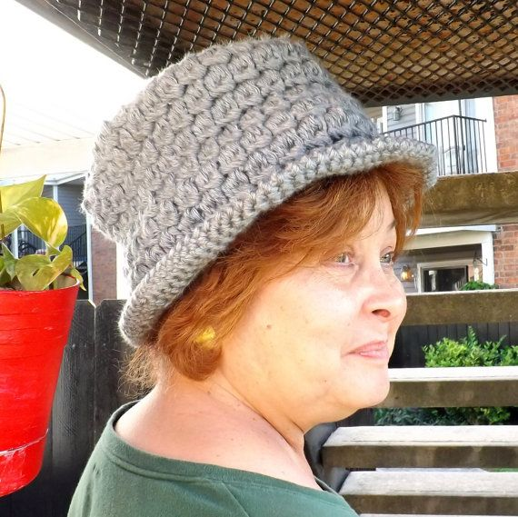 Gray Crochet Hat Womens Hat Womens Crochet Hat Gray Hat Womens Fedora Hat ANDY Crochet Fedora Hat for Women Crochet Hat by strawberrycouture by #strawberrycouture on #Etsy