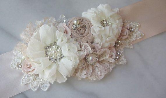Pale Blush and Ivory Bridal Sash, Petal Pink Wedding Belt, Flower Sash, Pearls and Crystals - BARELY BLUSH on Etsy, $161.00