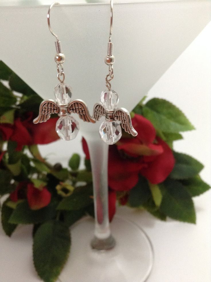 Angel Earrings - silver wings with clear crystal look beads perfect Christmas gift by NJscollection on Etsy
