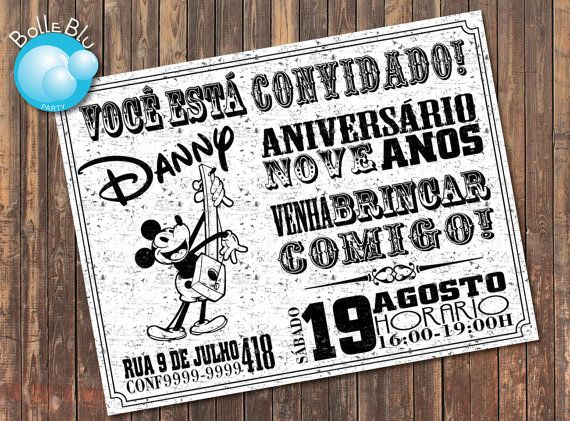 Mickey Mouse Classic Disney Invitation Digital by BolleBluParty