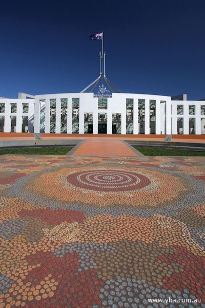 Entrance to New Parliament House with Michael Nelson Jackamarra mosaic in foreground.