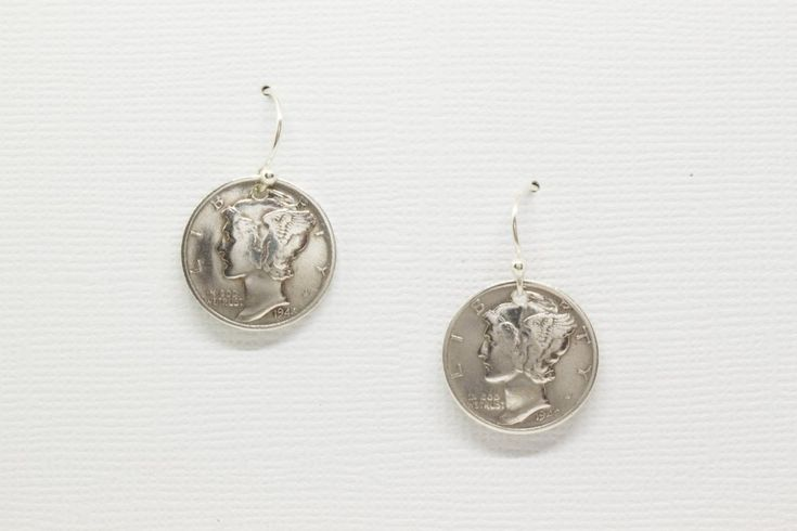 Earrings Handmade from Vintage Silver Mercury Dime with Solid Sterling Silver Findings