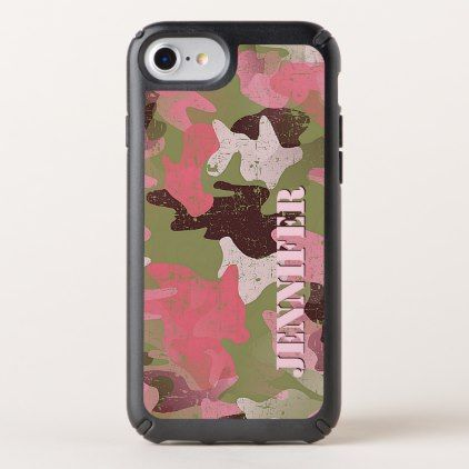 Custom Military Green Pink Camouflage Pattern Speck iPhone Case - elegant gifts gift ideas custom presents