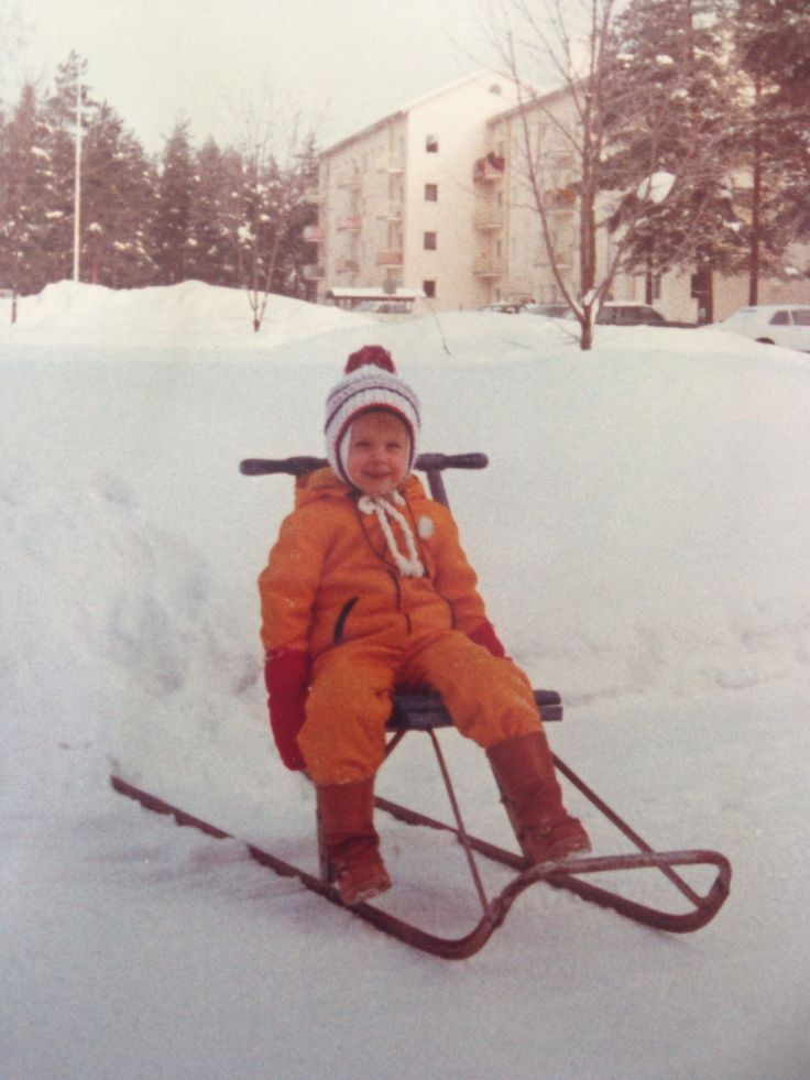 #Reima70 I can't be sure, but I remember that this overall is made by Reima. The picture is from Niinisalo, Finland in 1977-78, when the winters were still WINTERS. Reima overalls were used a lot, and I remember that in them you never felt cold! - Anna