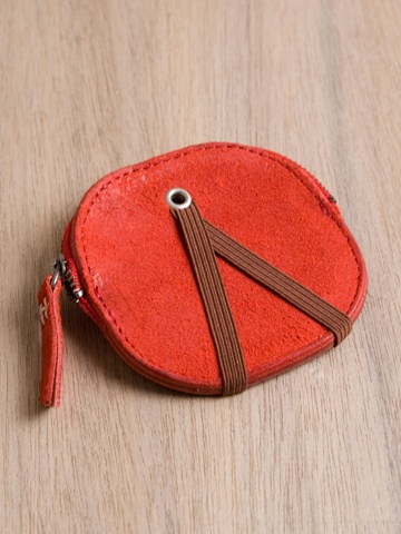 Hobo red leather coin case