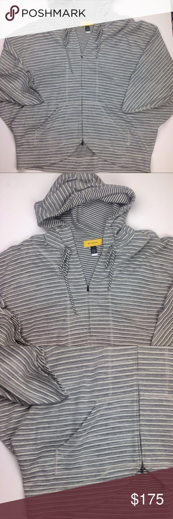 St. John Yellow Label Gray Batwing Hoodie Voluminous batwing sleeves add to overall slouch of striped knit hoodie. Drawstring hood exposes smaller scale stripes lining. Two way front zipper.  Front pockets. White too stitch trim. Cutaway hem. 52% Cotton 44% Viscose 4%nylon dry clean.  Retails $595 St. John Yellow Label Tops Sweatshirts & Hoodies