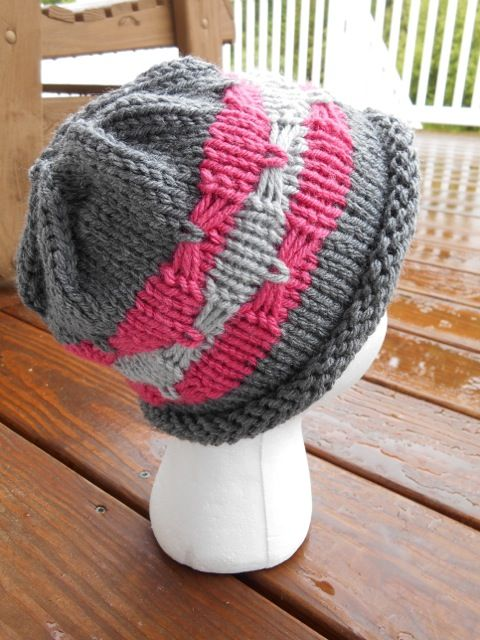Free Knitting Pattern for Ribbons and Bows Hat - This hat pattern from Knitting With Schnapps features one of my favorite stitches — the bow or butterfly stitch. It's much easier than it looks and creates a great bow on your ribbon stripes. Quick knit in bulky yarn.