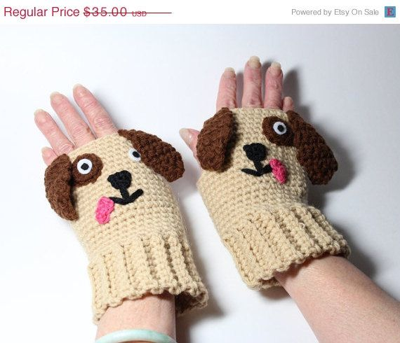 Puppy Fingerless Gloves Crochet Animal Mittens by MsAmandaJayne, $26.25