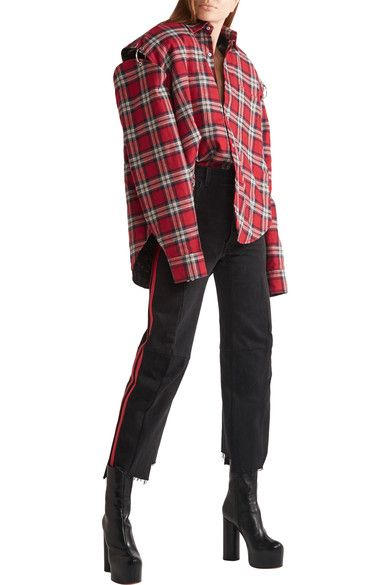 Vetements - Oversized Cutout Plaid Cotton-flannel Shirt - Red - x small