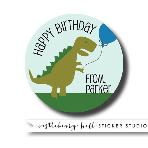 Dinosaur personalized gift sticker custom boys gift tag personalised t rex sticker
