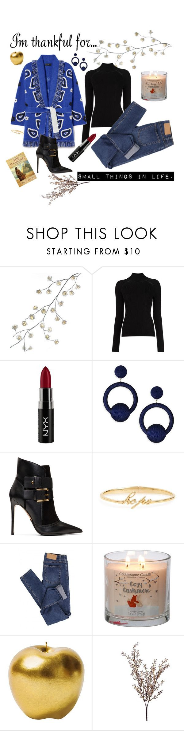 """Thankful for..."" by laislabonita88 ❤ liked on Polyvore featuring Kurt Adler, Misha Nonoo, NYX, Rebecca de Ravenel, Balmain, Judith Jack, Cheap Monday, Bitossi, Wyld Home and thanksgiving"