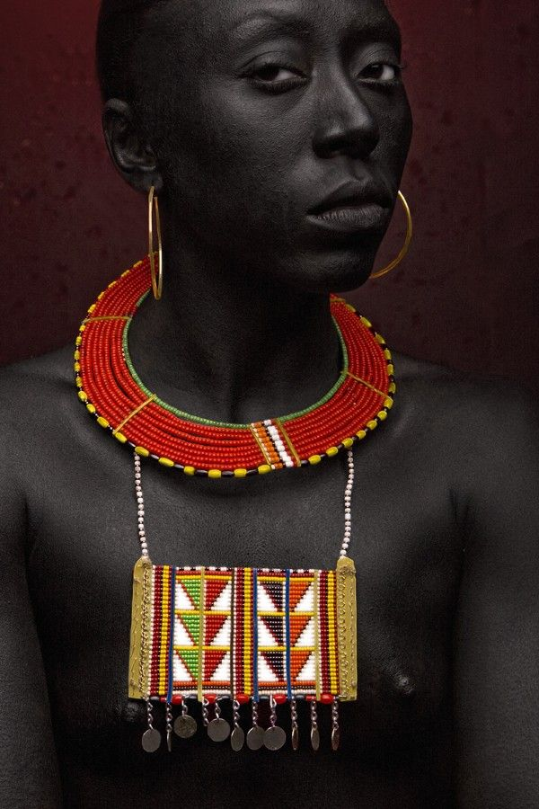 Model Michelle Monique Nicole wearing traditional beaded jewellery from Kenya (Masai or Samburu tribe)