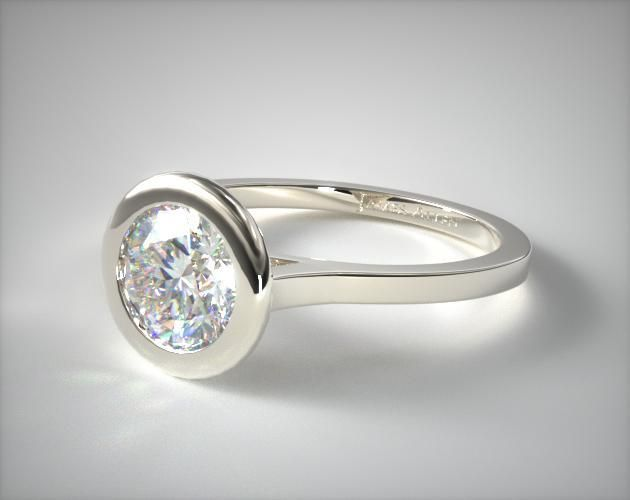 14K White Gold Bezel Solitaire Engagement Ring (Round Center)