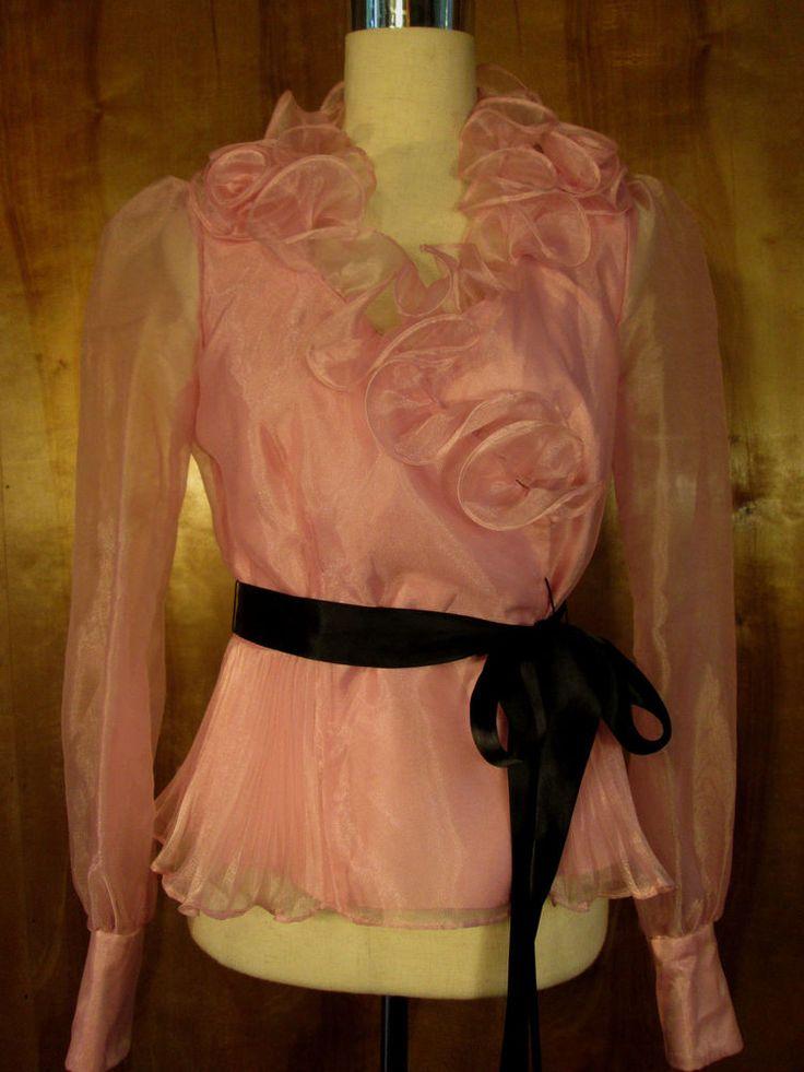 Stunning Chetta B Evening Pink  Princess Cuffs Ruffled Top/Shirt/Blouse Size 6 #CheetaB #Blouse #EveningOccasion