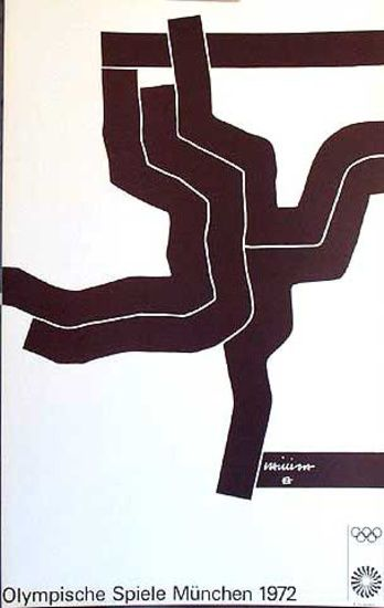 DP Vintage Posters - Original Vintage 1972 Munich Olympics Art Series black abstract 2 Poster
