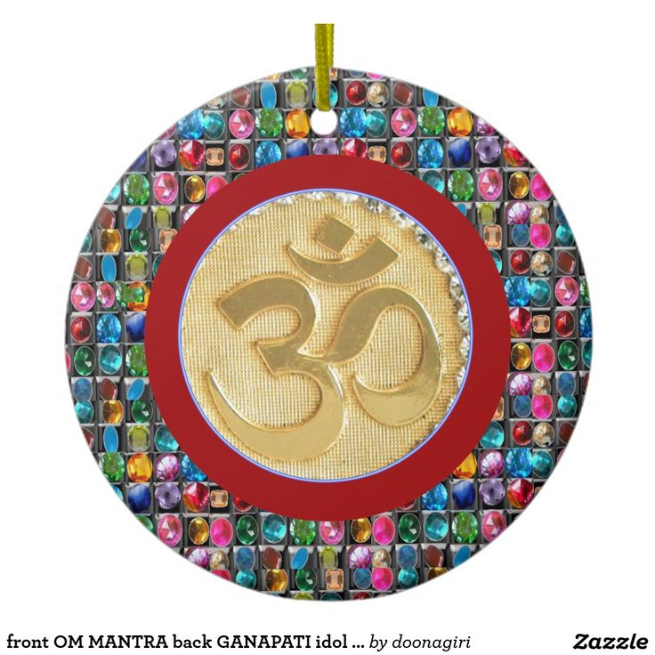 front OM MANTRA back GANAPATI idol symbols Double-Sided Ceramic Round Christmas Ornament