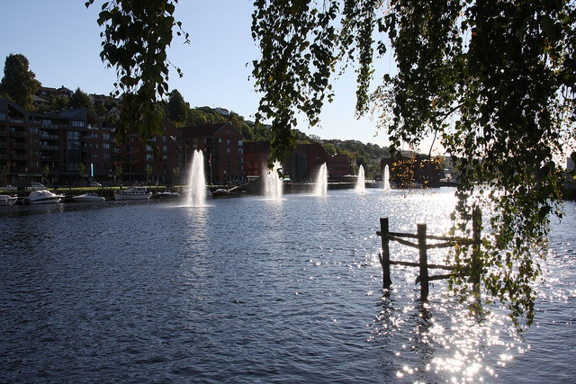 The river and the water fountains, via Flickr.