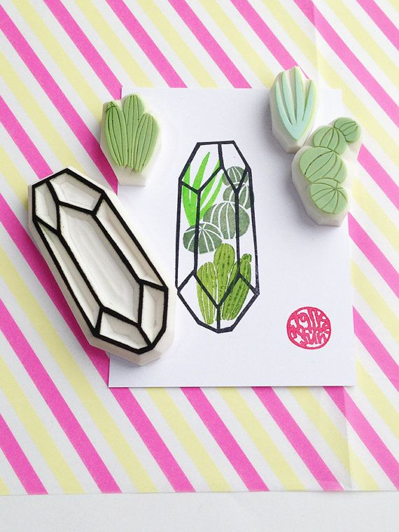 cactus succulent terrarium stamp set. geometric terrarium hand carved rubber stamps. gemstone stamp. birthday scrapbooking. set of 4. no4