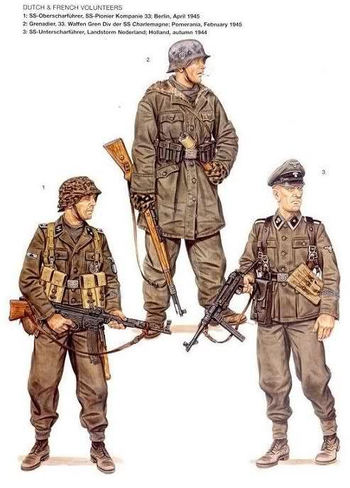 Voluntarios franceses y holandeses 1: SS Oberscharfürer (Sargento mayor), 33º Compañía de Zapadores SS; Berlin, abril de 1945 2: Granadero, 33º División de Granaderos SS ''Charlemagne''; Pomerania, febrero de 1945 3: SS Oberscharfürer (Sargento segundo), 34º División de Granaderos SS ''Landstorm Nederland''; Holanda, otoño de 1944