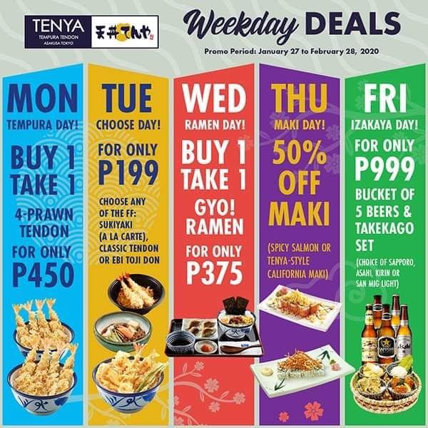 Amazing Weekday Deals At Tenya In 2020 Weekday Deal Amazing