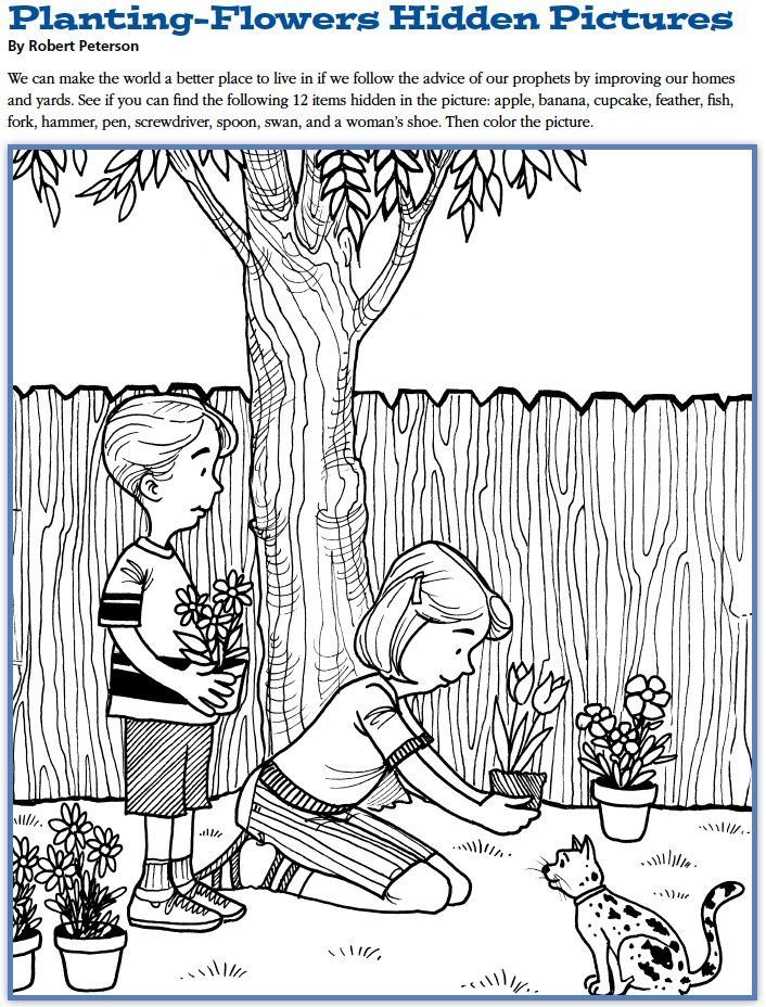 LDS Games - Find and Color - Planting Flowers