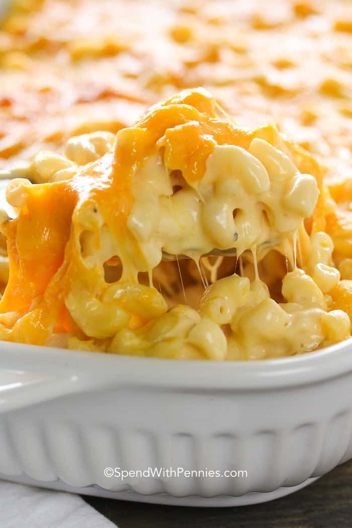 This homemade Macaroni and Cheese Casserole is a show stopper with oodles of noodles and and luscious cheesy sauce!