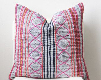 Boho Bohemian VINTAGE HMONG Textile Batik Tribal Ethnic Piece Tradition Costume Indigo Pink Pillow Case