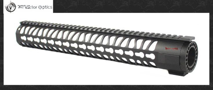 Vector Optics KeyMod 15 Inch Free Float One Piece Handguard Picatinny Rail Mount System BLACK fit 5.56 .223 AR Platform Rifles