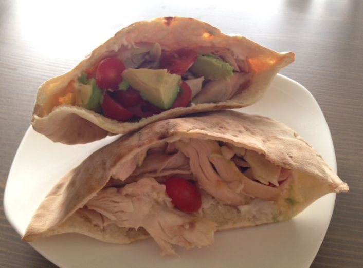Toss your everyday boring lunch to the side and listen up! My pita pocket sandwich is perfect for a quick and healthy option!  Directions: Cut a pita pocket in half; add Charine's Mediterranean Garlic Sauce, rotisserie chicken, cherry tomatoes, avocado and cucumber. Afterwards, toast it in the toaster oven for a few minutes, and enjoy!