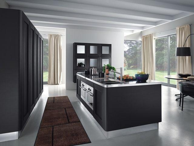 Moderne Küche Kochinsel Schwarz Edelstahl Einbaugeräte Melo