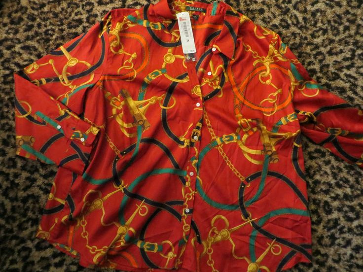 NOW Free Shipping - $45 RALPH LAUREN Polo Womens Equestrian Chain Link Horse Bit RED L/S Shirt NEW 3X