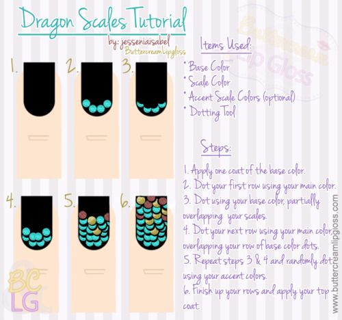 Dragon Scales Manicure Tutorial  I've received several requests on Instagram  Beautylish for a tutorial for this weeks NOTW: Scales, so I put this together. There may be an easier way to achieve this look, but this is how I did it. If you know of an easier way, or if you try this mani, let me know! I'd love to see yours! :D