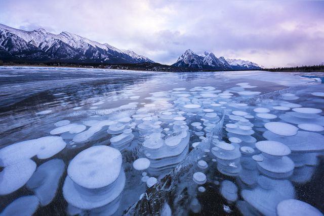 氷に閉じ込められたメタンの泡(カナダ、カルガリー)
