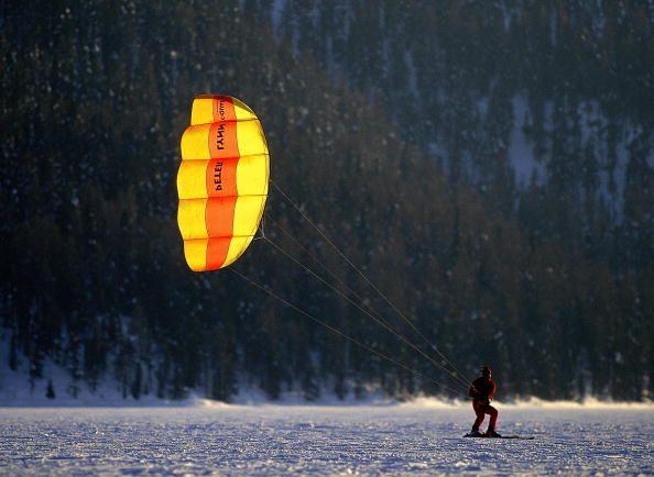Kite Skiing during the Winter Sports Festival in St Moritz Switzerland Mandatory Credit Michael Steele /Allsport