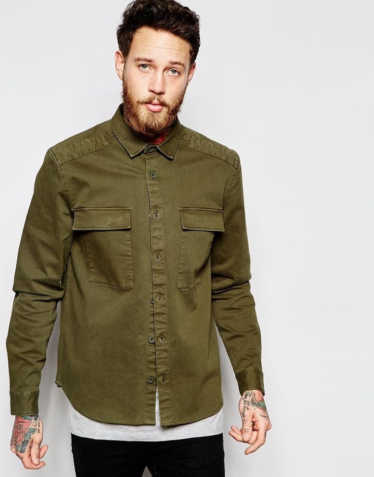 Image 1 of ASOS Military Overshirt In Khaki With Long Sleeves