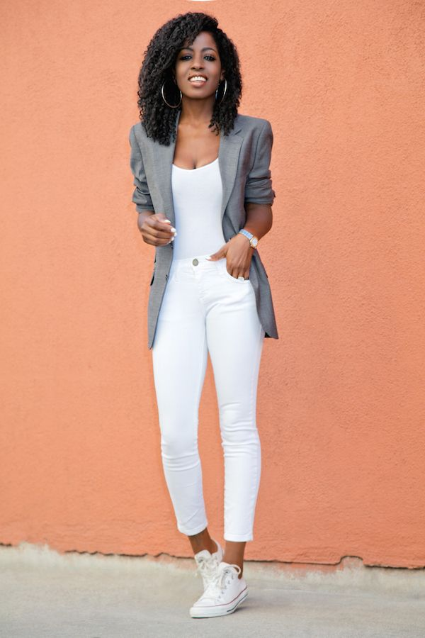 Men's Blazer + Bodysuit + Stiletto Jeans