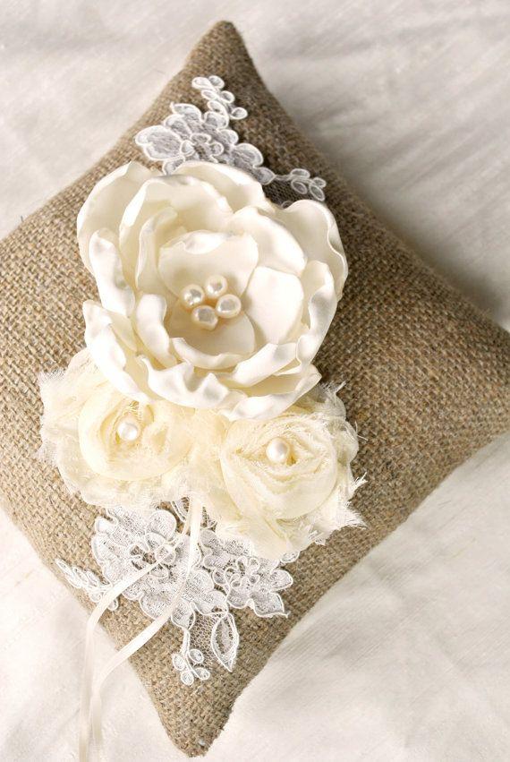 Burlap Ring Bearer Pillow-if we did a pillow